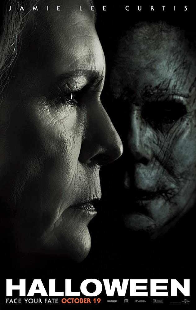 Jamie Lee Curtis and Nick Castle in Halloween (2018)