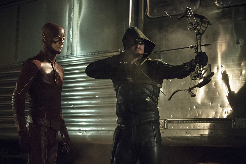 Stephen Amell and Grant Gustin in Arrow (2012)