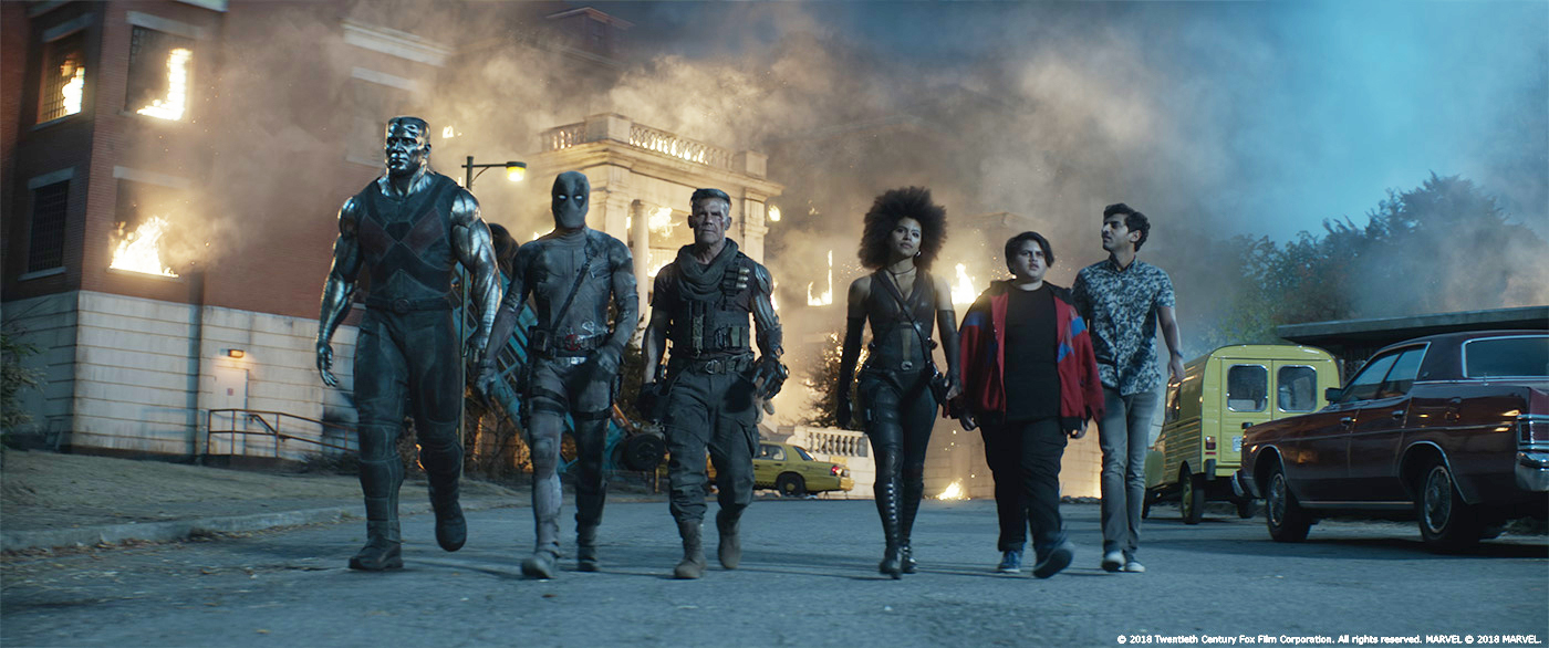 Josh Brolin, Ryan Reynolds, Stefan Kapicic, Karan Soni, Julian Dennison, and Zazie Beetz in Deadpool 2 (2018)