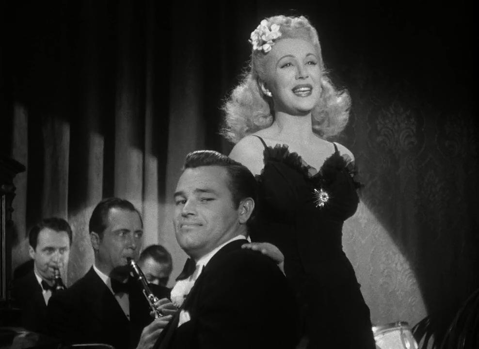 Claudia Drake and Tom Neal in Detour (1945)