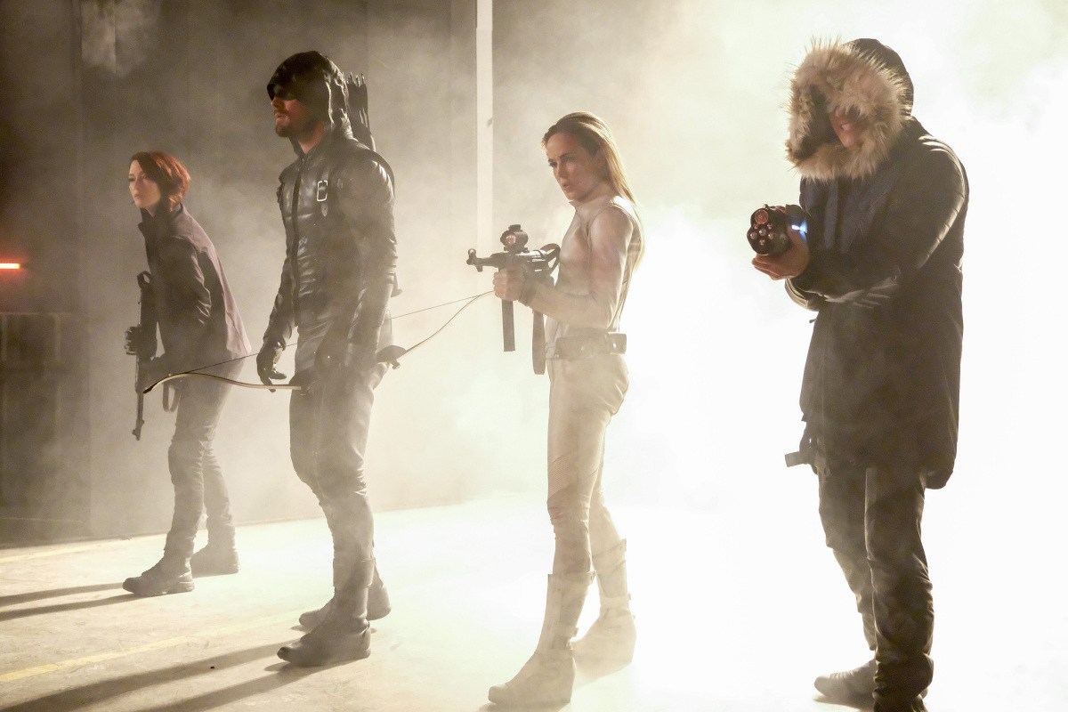 Chyler Leigh, Wentworth Miller, Stephen Amell, and Caity Lotz in The Flash (2014)