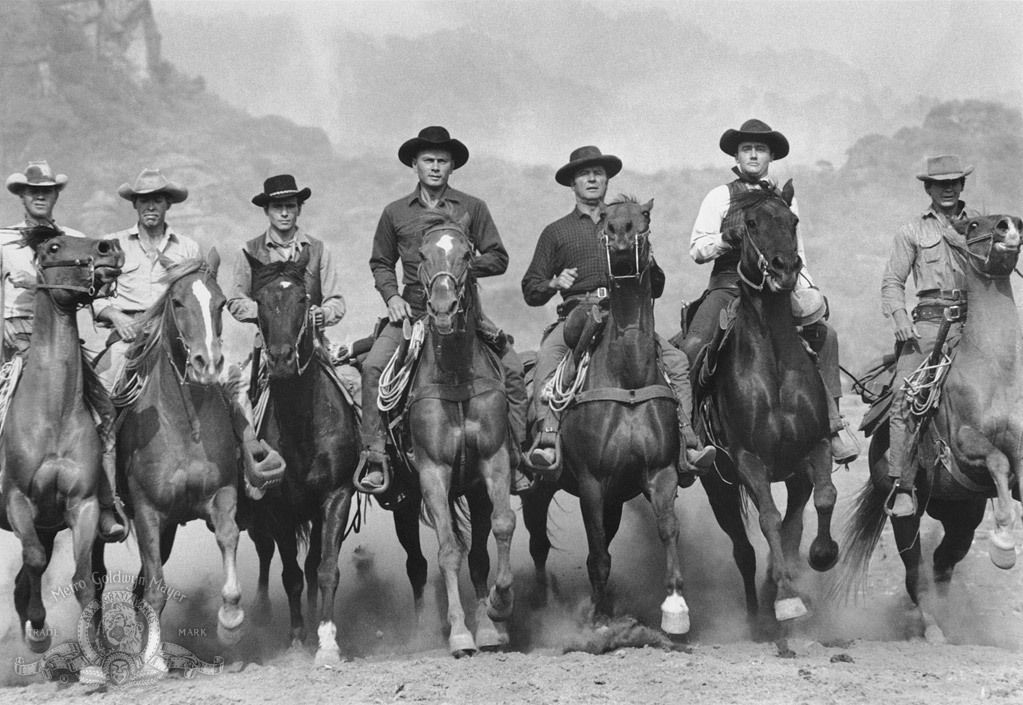 Charles Bronson, James Coburn, Steve McQueen, Yul Brynner, Robert Vaughn, Horst Buchholz, and Brad Dexter in The Magnificent Seven (1960)