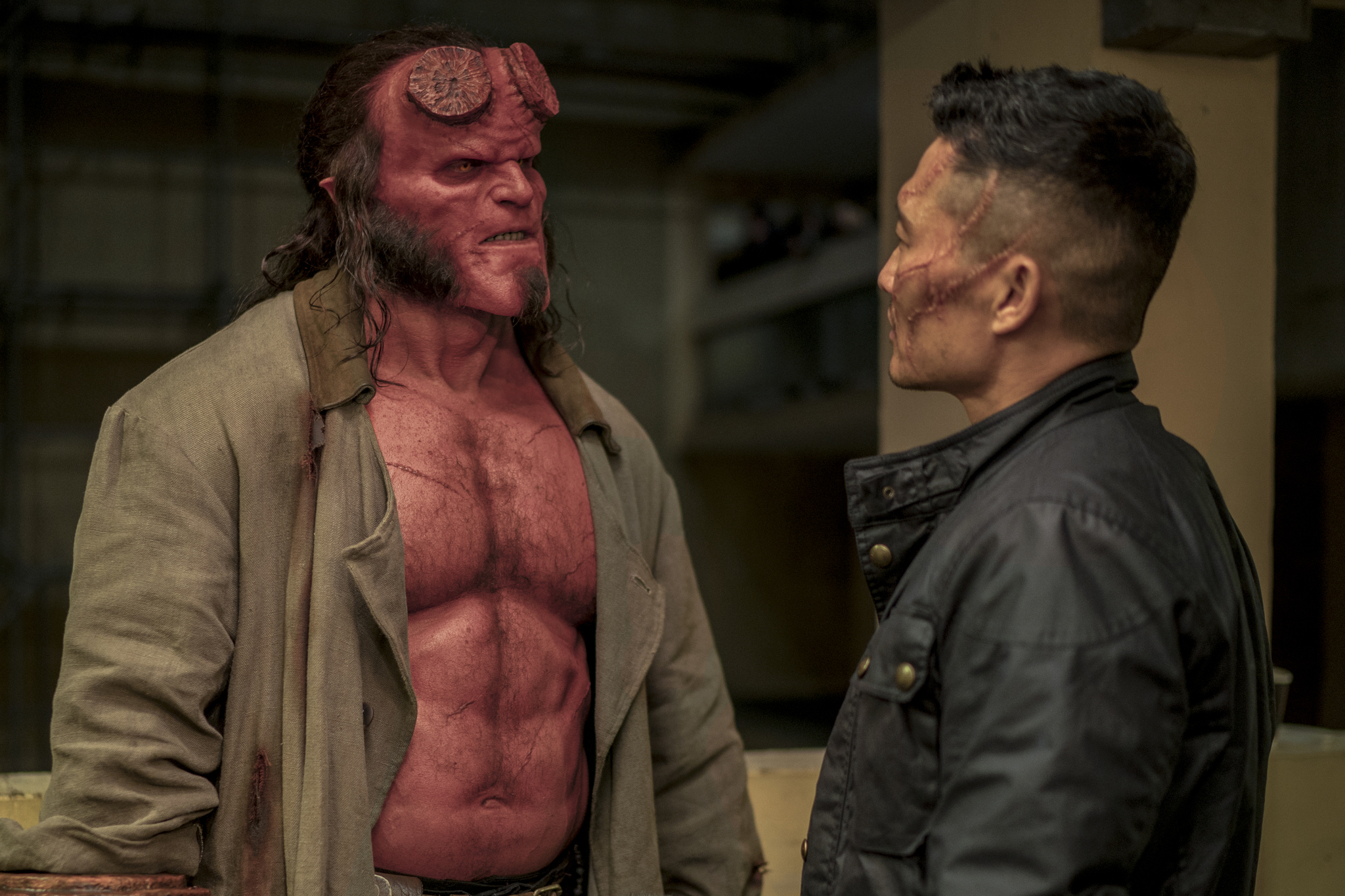 Daniel Dae Kim and David Harbour in Hellboy (2019)