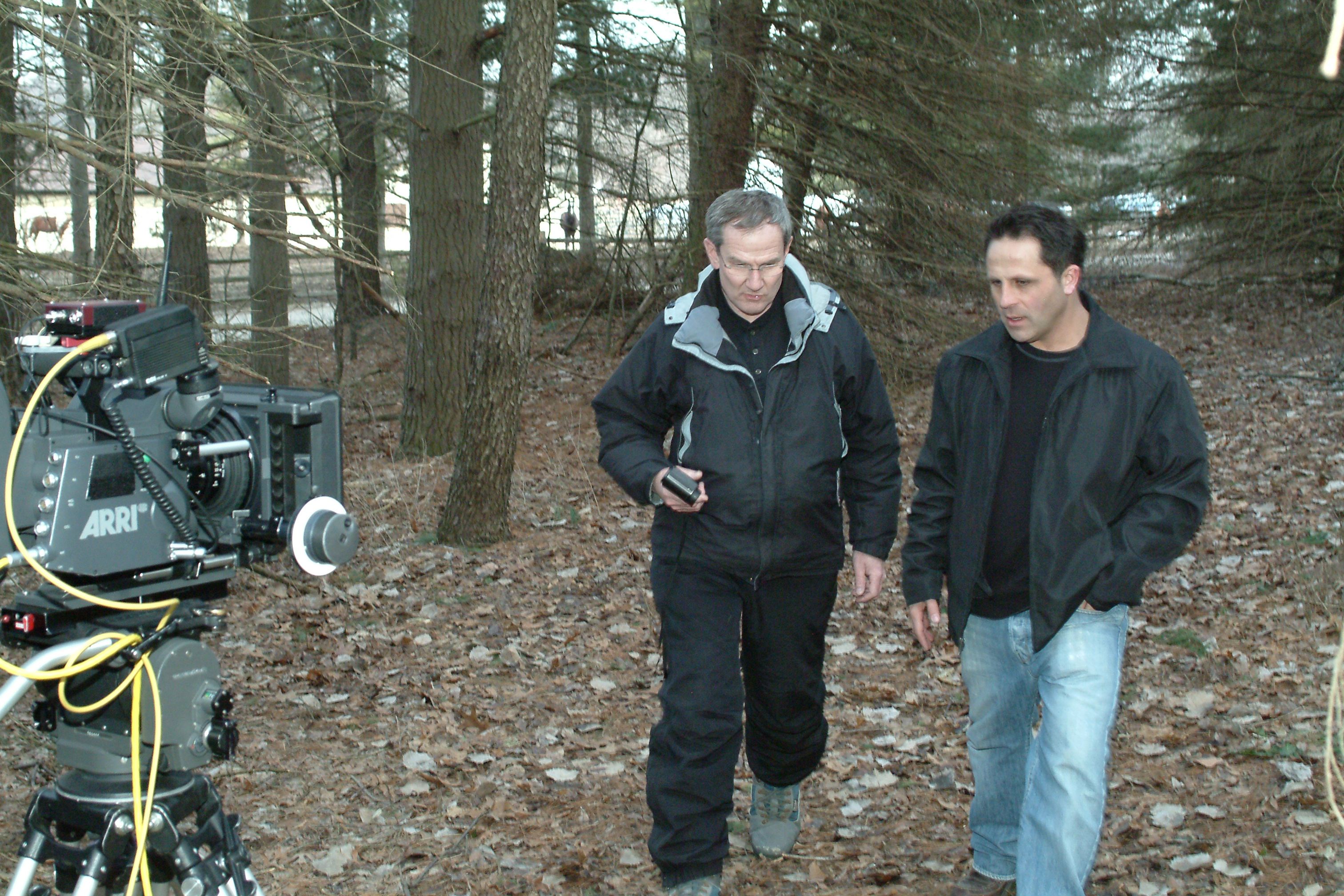 Lon Stratton with director Hassan Hussein on the set of The Jinn.