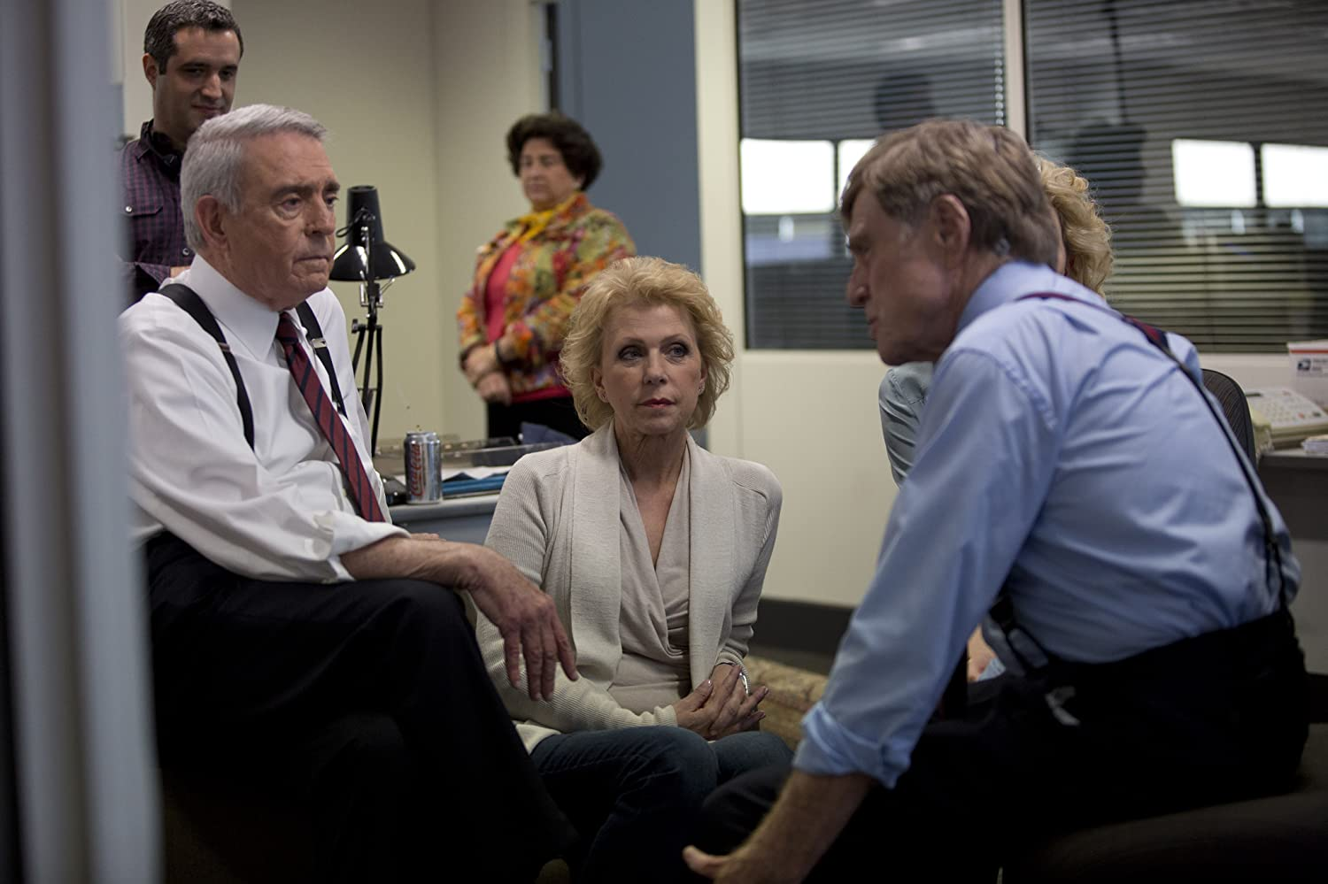 Robert Redford, Dan Rather, and Mary Mapes in Truth (2015)