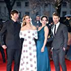 Michiel Huisman, Glen Powell, Jessica Brown Findlay, and Lily James at an event for The Guernsey Literary and Potato Peel Pie Society (2018)