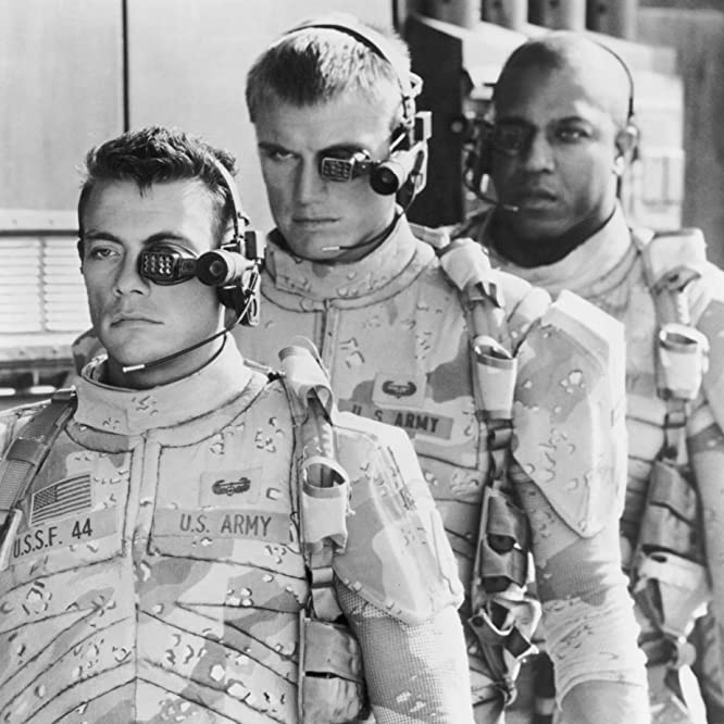 Dolph Lundgren, Jean-Claude Van Damme, and Tommy 'Tiny' Lister in Universal Soldier (1992)