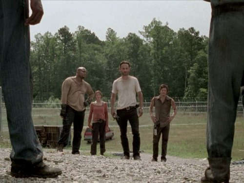 Norman Reedus, Andrew Lincoln, Melissa McBride, and Irone Singleton in The Walking Dead (2010)