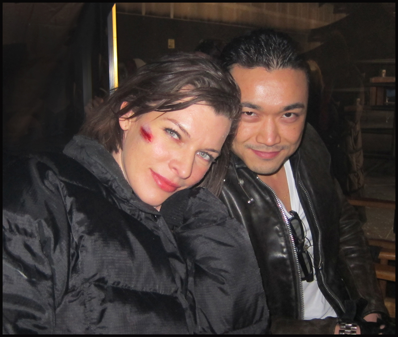 Milla Jovovich and Norman Yeung on the set of RESIDENT EVIL: RETRIBUTION.