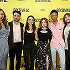 Nicholas Rutherford, Robert Schwartzman, Lucy Hale, Lauren Lapkus, Maya Kazan, and Darrell Britt-Gibson at an event for The Unicorn (2018)