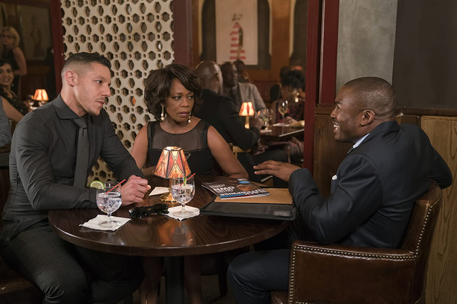 Alfre Woodard, Theo Rossi, and Chaz Lamar Shepherd in Luke Cage (2016)