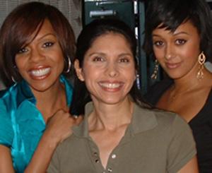 "On set of ""The Game"" with fellow cast members 'Wendy Raquel Robinson, left, and 'Tia Mowry'. February 2009.  Characters: Tasha Mack, Marta, and Melanie Barnett."