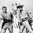 Clayton Moore, Jay Silverheels, and Silver in The Lone Ranger (1956)