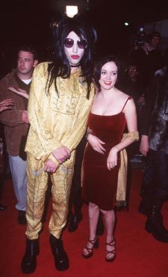 Rose McGowan and Marilyn Manson at an event for Alien: Resurrection (1997)