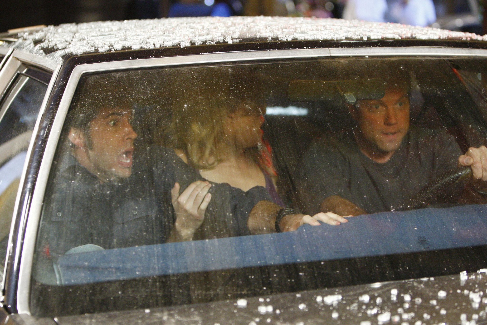 Adam Baldwin, Zachary Levi, and Yvonne Strahovski in Chuck (2007)