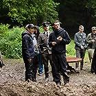 Tim Oliehoek, Arian Foppen, Coen Stroeve and Maxime Desmet on the set of De Zaak Menten (2016).