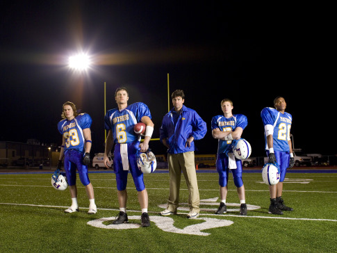 Kyle Chandler, Zach Gilford, Taylor Kitsch, Gaius Charles, and Scott Porter in Friday Night Lights (2006)