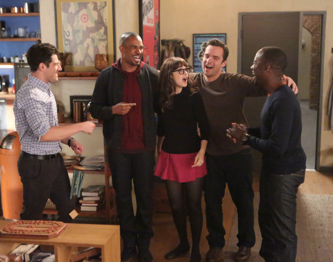 Zooey Deschanel, Max Greenfield, Damon Wayans Jr., Lamorne Morris, and Jake Johnson in New Girl (2011)
