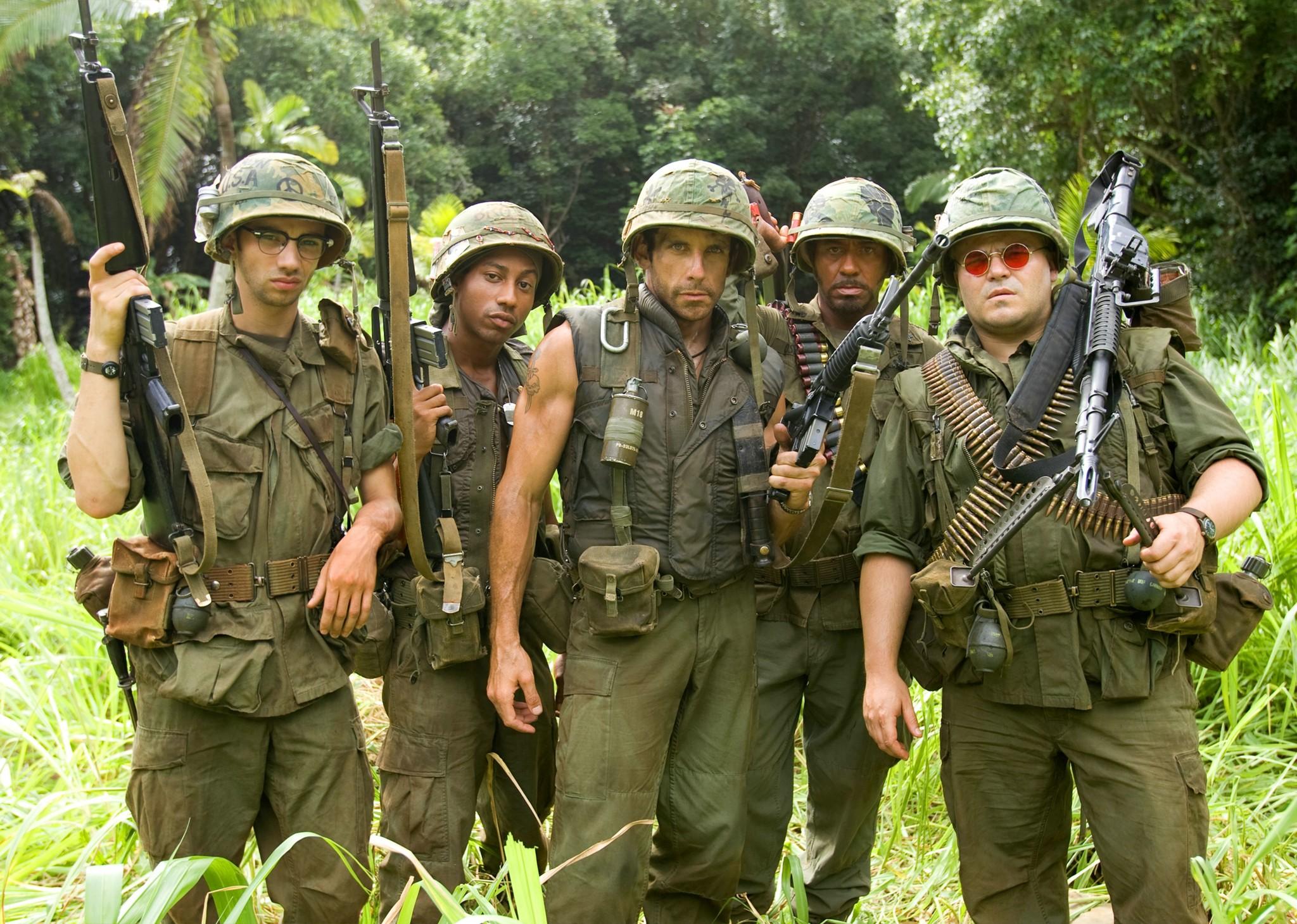 Robert Downey Jr., Ben Stiller, Jay Baruchel, Jack Black, and Brandon T. Jackson in Tropic Thunder (2008)