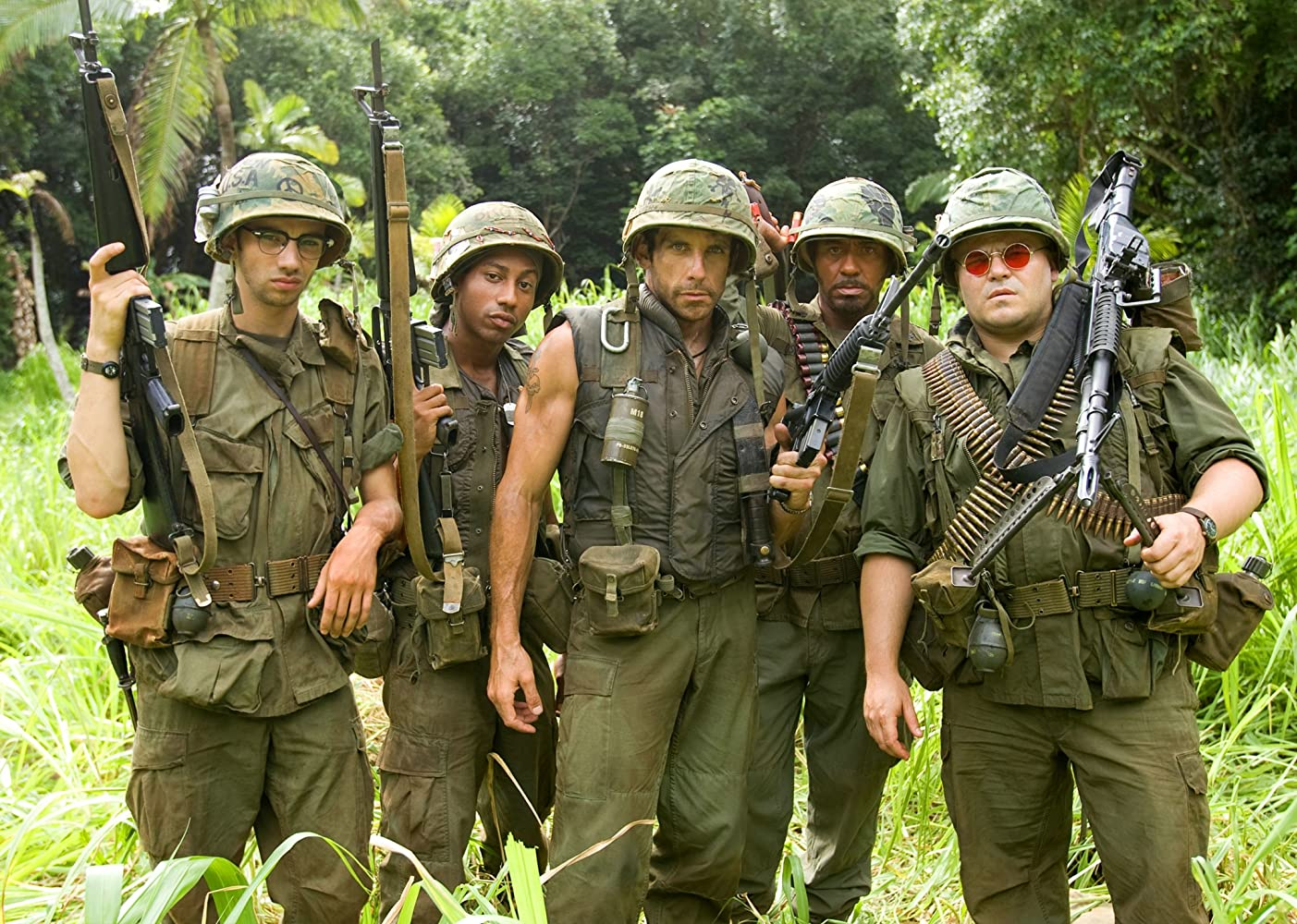 Robert Downey Jr., Ben Stiller, Jay Baruchel, Jack Black, and Brandon T. Jackson in Tropic Thunder (2008)