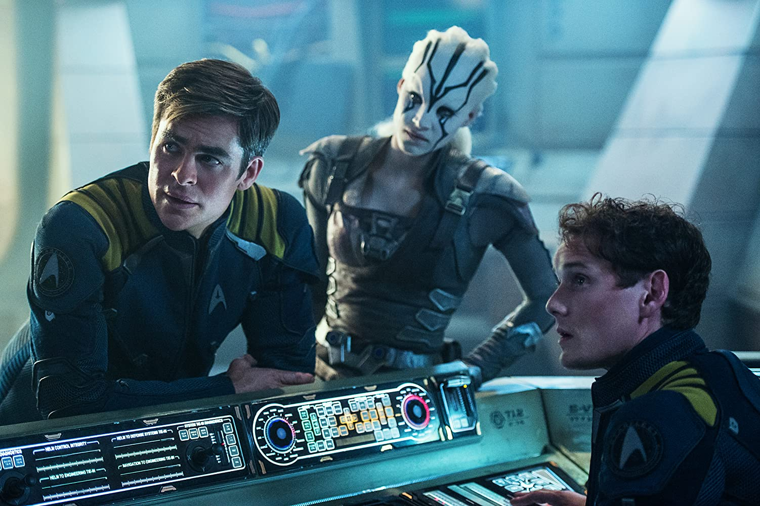 Anton Yelchin, Sofia Boutella, and Chris Pine in Star Trek: Beyond (2016)