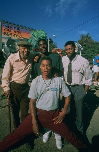 Laurence Fishburne, Cuba Gooding Jr., Morris Chestnut, and Whitman Mayo in Boyz n the Hood (1991)