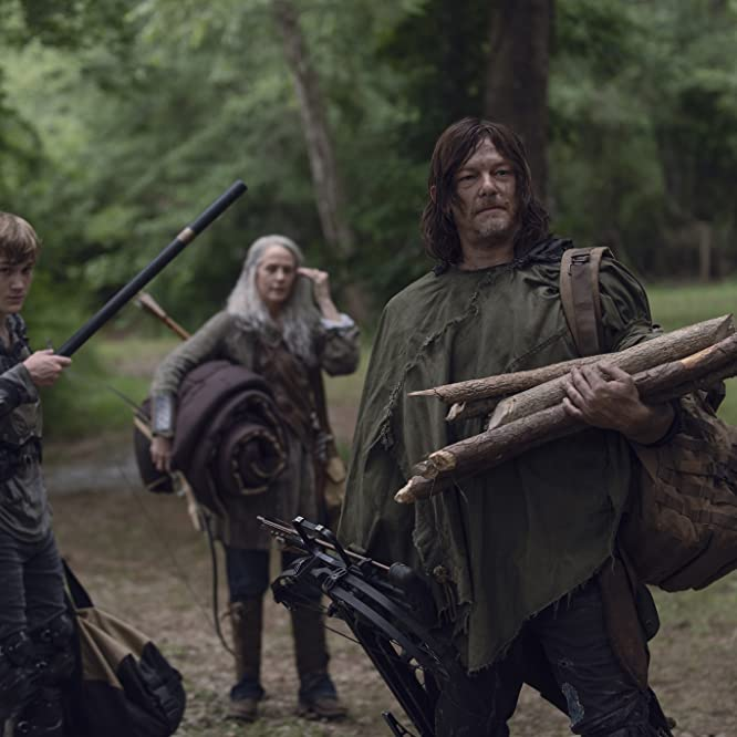 Norman Reedus, Melissa McBride, and Matt Lintz in The Walking Dead (2010)