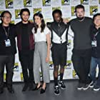 Roy Lee, Masi Oka, Adam Wingard, Nat Wolff, LaKeith Stanfield, and Margaret Qualley at an event for Death Note (2017)
