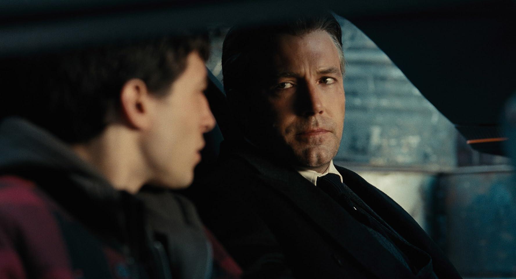 Ben Affleck and Ezra Miller in Justice League (2017)