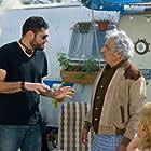 """Beto Gómez and Rafael Inclán on the set of """"Volando Bajo"""""""