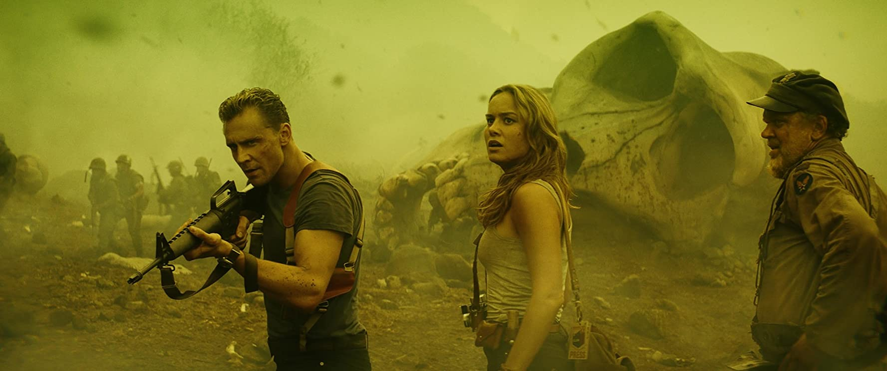 John C. Reilly, Brie Larson, and Tom Hiddleston in Kong: Skull Island (2017)
