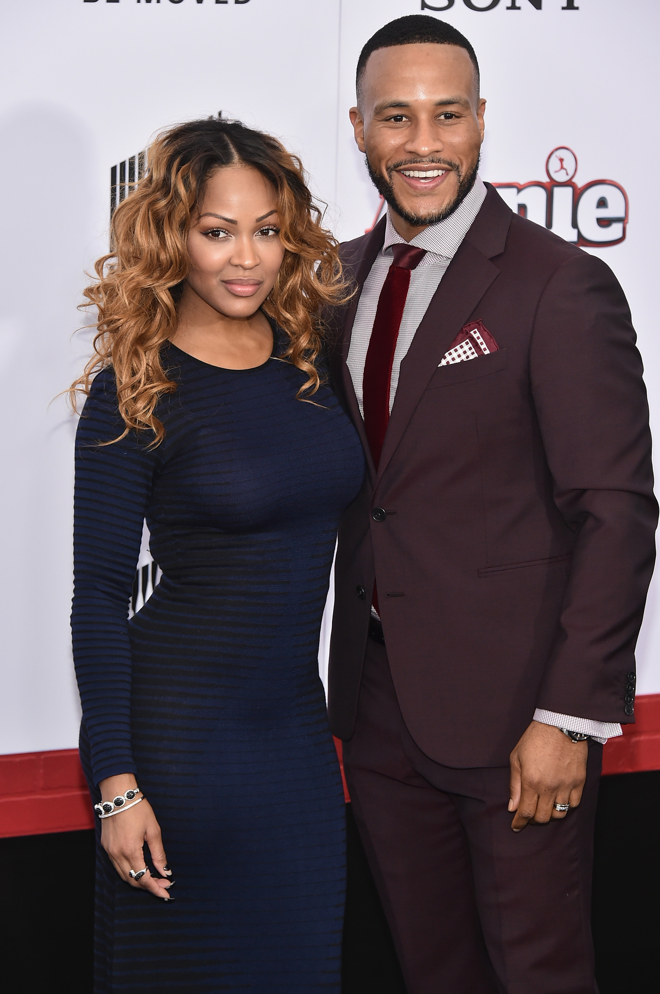 Meagan Good and DeVon Franklin at an event for Annie (2014)