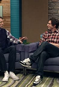 Primary photo for Andy Samberg Wears a Plaid Shirt & Glasses