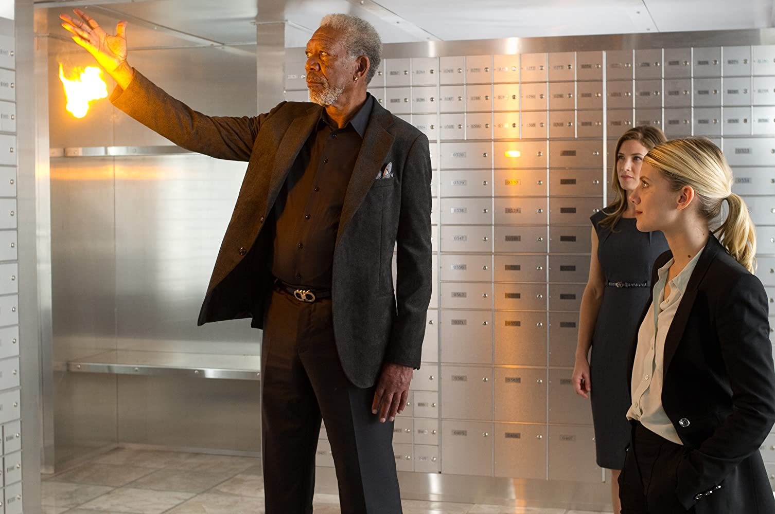 Morgan Freeman, Mélanie Laurent, and Jessica Lindsey in Now You See Me (2013)