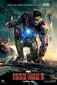 Don Cheadle, Robert Downey Jr., Gwyneth Paltrow, Guy Pearce, Paul Bettany, Rebecca Hall, and Stephanie Szostak in Iron Man Three (2013)