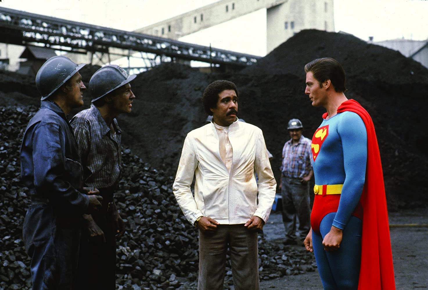 Richard Pryor, Christopher Reeve, Larry Lamb, and Christopher Malcolm in Superman III (1983)