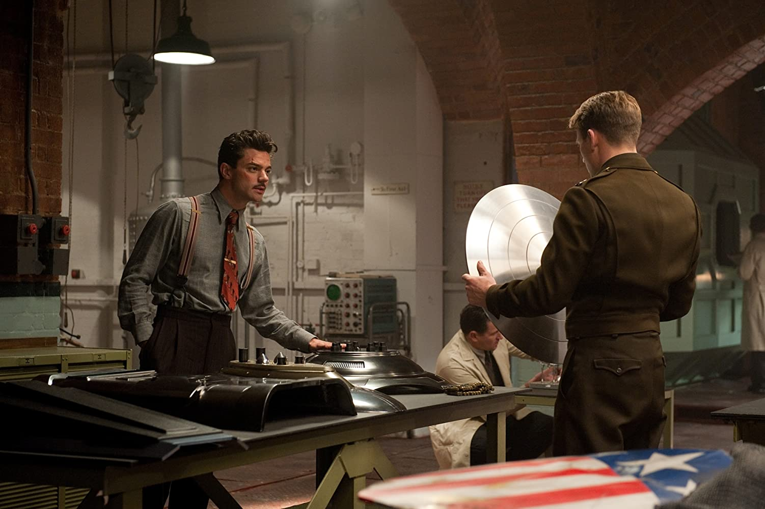 Chris Evans and Dominic Cooper in Captain America: The First Avenger (2011)