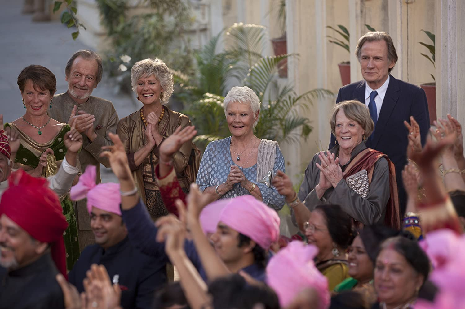 Judi Dench, Maggie Smith, Diana Hardcastle, Celia Imrie, Bill Nighy, and Ronald Pickup in The Second Best Exotic Marigold Hotel (2015)