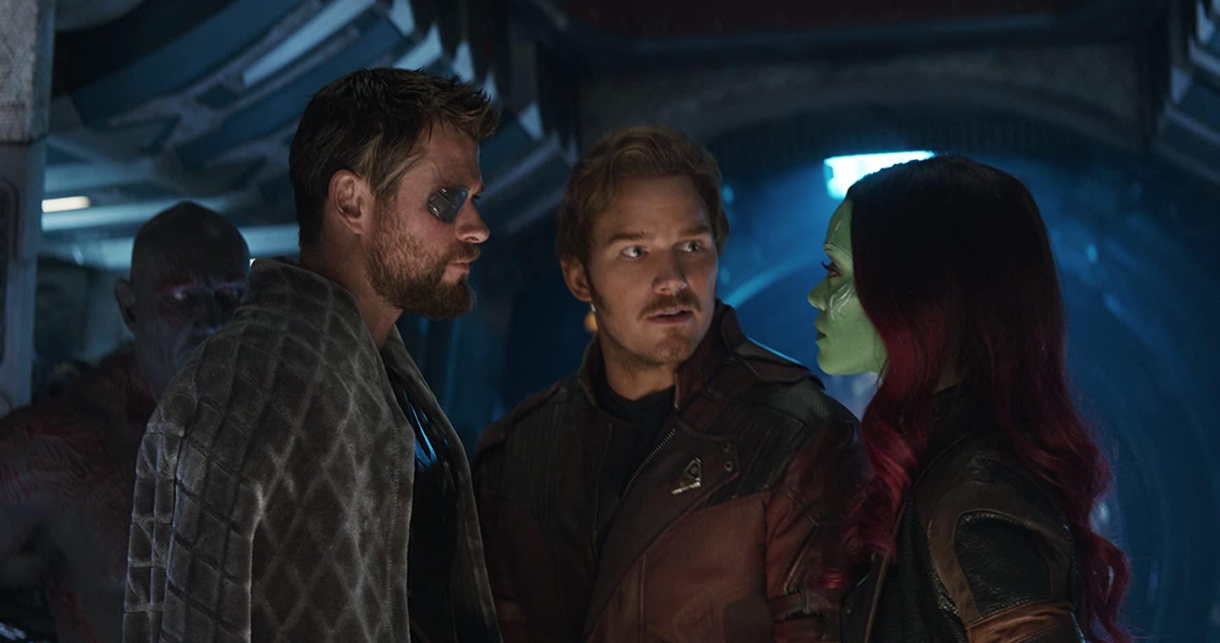 Chris Pratt, Zoe Saldana, Chris Hemsworth, and Dave Bautista in Avengers: Infinity War (2018)