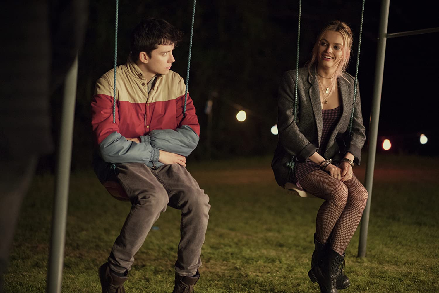Asa Butterfield and Emma Mackey in Sex Education (2019)
