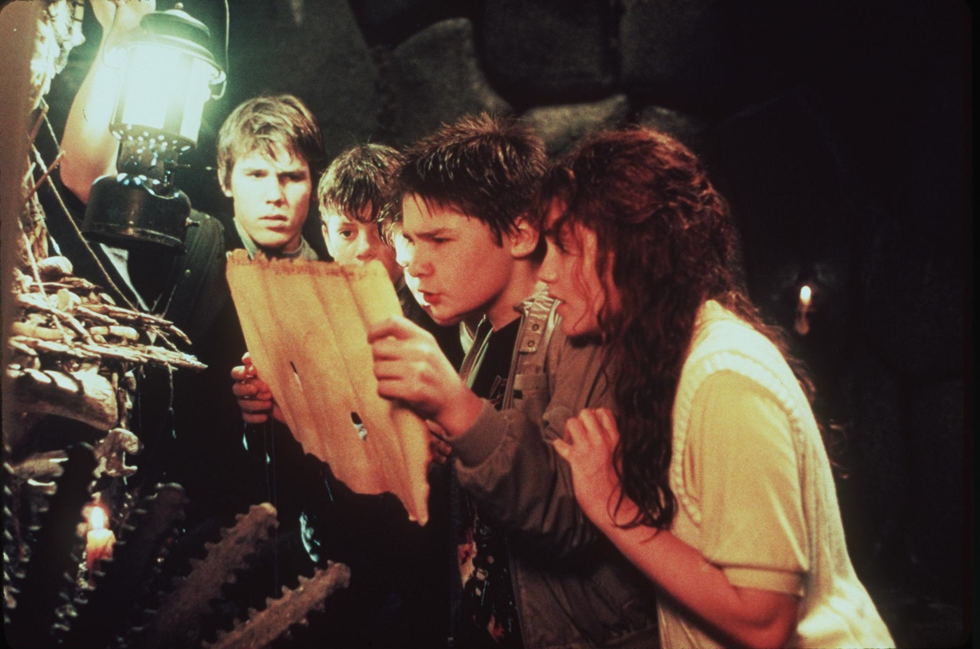 Sean Astin, Corey Feldman, Josh Brolin, and Kerri Green in The Goonies (1985)