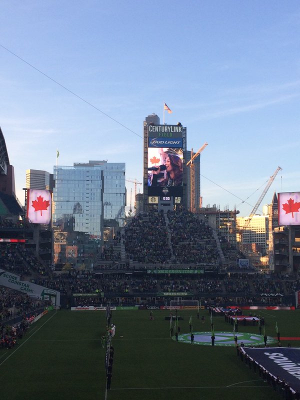 Singing the Canadian Anthem at the Seattle Sounders vs Montreal Impact MLS game, at CenturyLink Field in Seattle