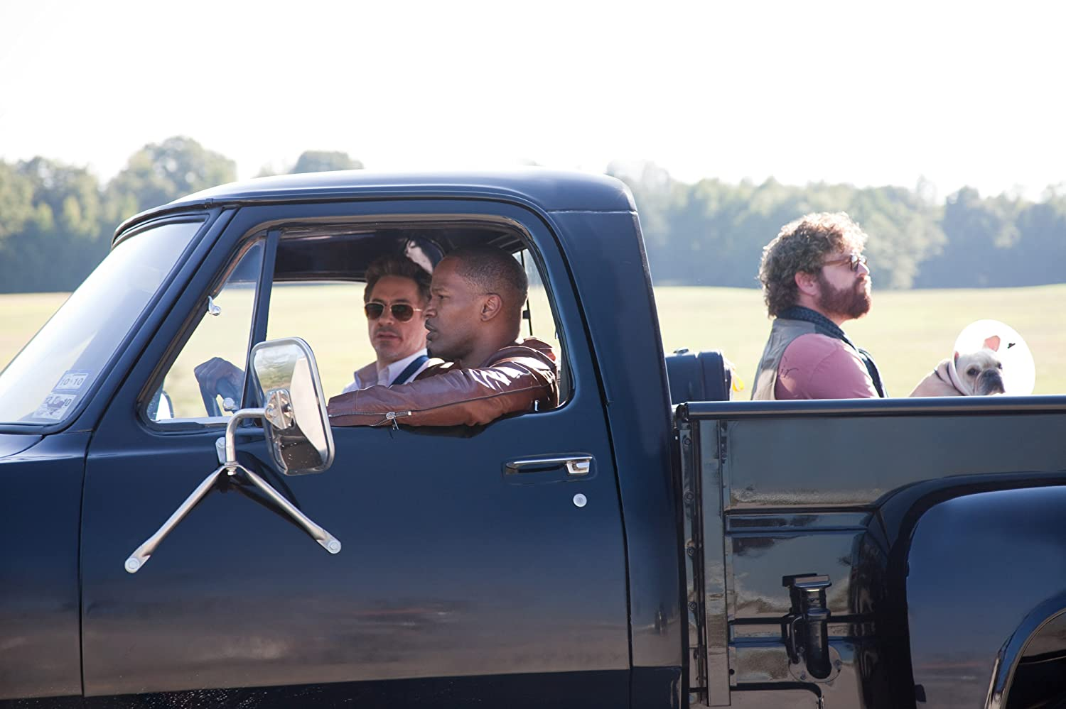 Robert Downey Jr., Jamie Foxx, and Zach Galifianakis in Due Date (2010)