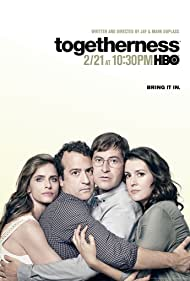 Melanie Lynskey, Amanda Peet, Mark Duplass, and Steve Zissis in Togetherness (2015)