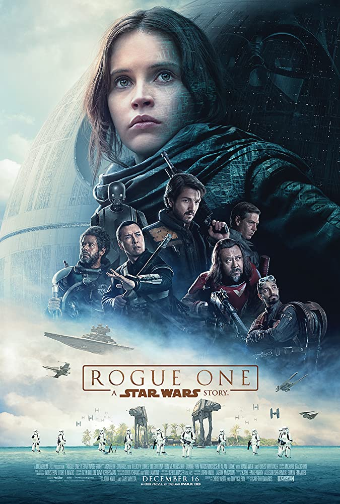 James Earl Jones, Forest Whitaker, Wen Jiang, Felicity Jones, Diego Luna, Ben Mendelsohn, Alan Tudyk, Donnie Yen, Riz Ahmed, and Abrey Steve in Rogue One (2016)