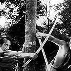 Toshirô Mifune and Masayuki Mori in Rashômon (1950)