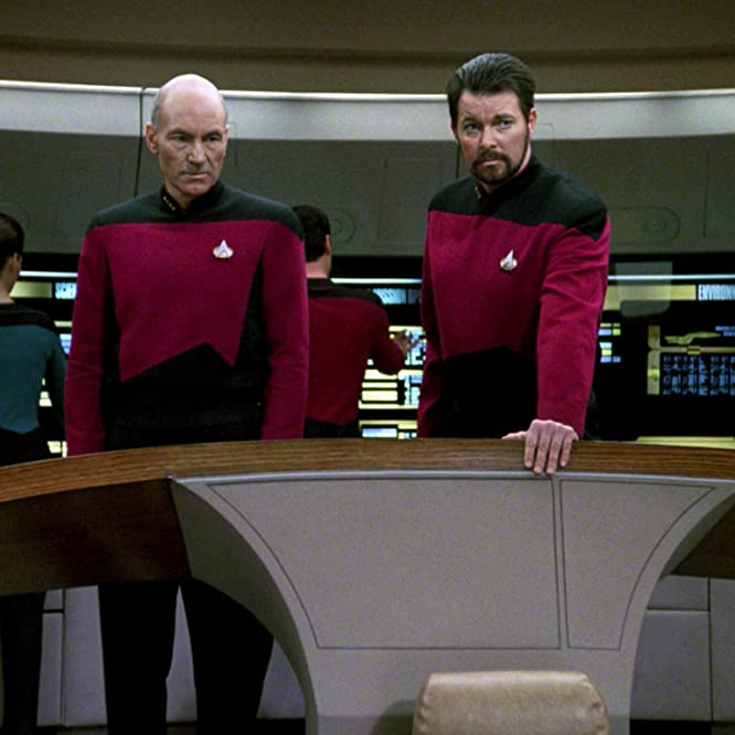 Jonathan Frakes and Patrick Stewart in Star Trek: The Next Generation (1987)