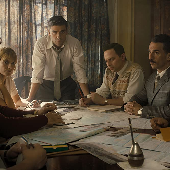 Michael Aronov, Mélanie Laurent, Oscar Isaac, Nick Kroll, and Greg Hill in Operation Finale (2018)