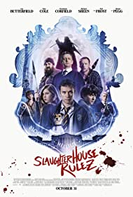 Nick Frost, Simon Pegg, Michael Sheen, Asa Butterfield, Isabella Laughland, Tom Rhys Harries, Hermione Corfield, and Finn Cole in Slaughterhouse Rulez (2018)