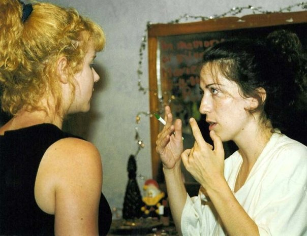 "Photo Date: 31 August 2001 Director Cindy Baer discusses a scene with writer/actress Celeste Davis on the set of the independent feature ""Purgatory House""."